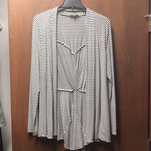 Market and Spruce black/white tie cardigan